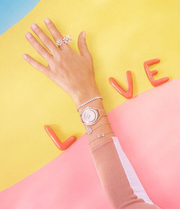 mother's day, swarovski, necklace, flower. ring, bracelet, watch
