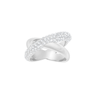 Crystaldust Cross Ring, White, Palladium Plated