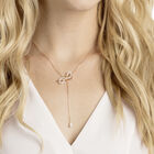 Lifelong Bow Y Necklace, White, Mixed plating