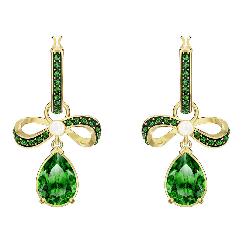 Black Baroque Hoop Pierced Earrings, Green, Gold-tone plated