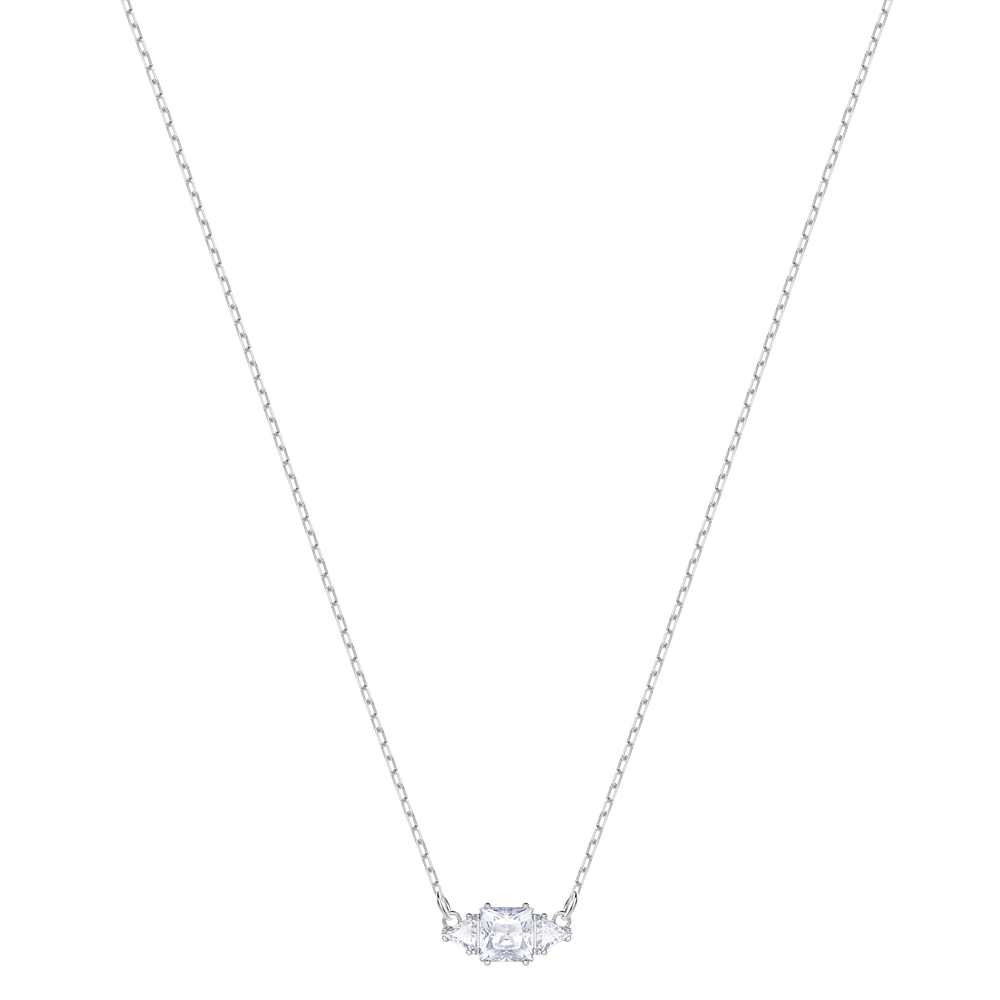 Attract Trilogy Necklace, White, Rhodium Plating