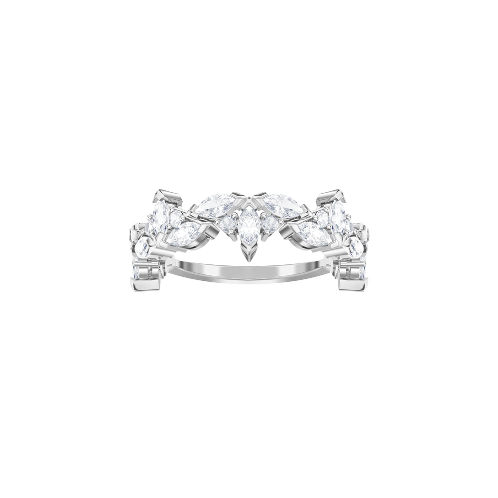 Lady Flower Ring, White, Rhodium plated