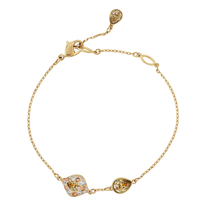 Graceful Bloom Bracelet, Brown, Gold-tone plated