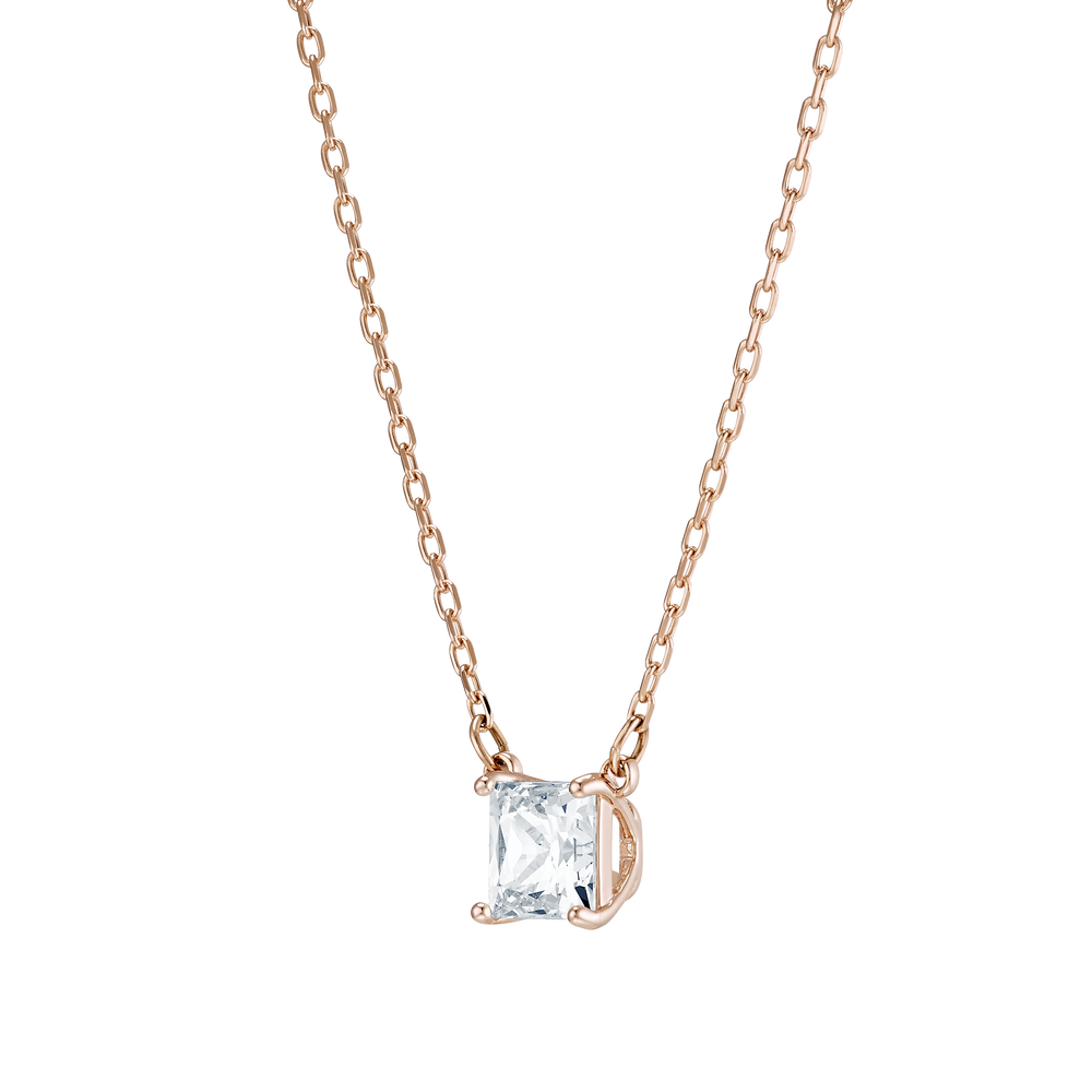 Attract Necklace, White, Rose-gold tone plated