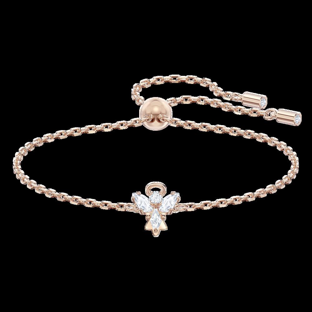 Magic Angel Bracelet, White, Rose-gold tone plated