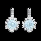 Olive Pierced Earrings, Aqua, Rhodium plating