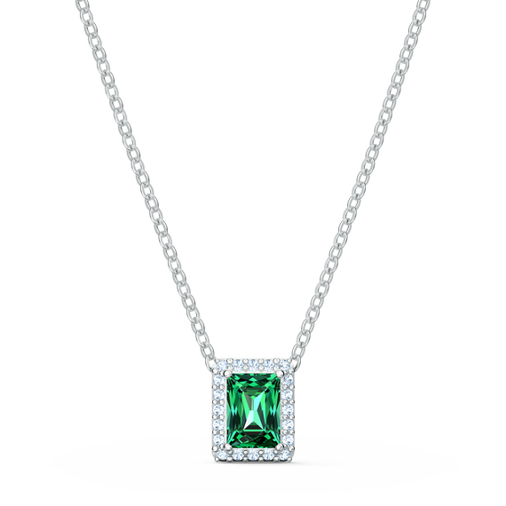 Angelic Rectangular Necklace, Green, Rhodium plated