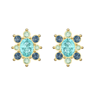 Lucky Goddess Pierced Earrings, Multi-colored, Gold-tone plated