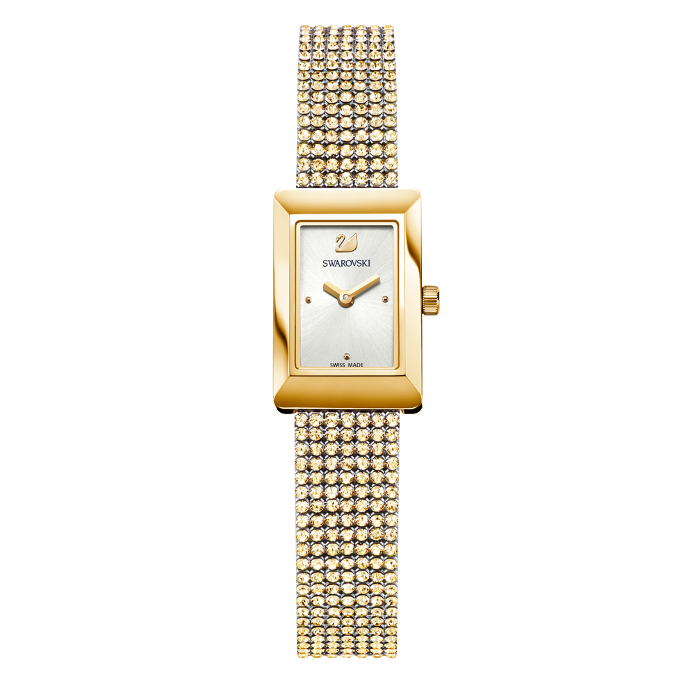 Memories Watch, Crystal Mesh strap, White, Gold-tone PVD
