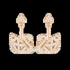 Facet Swan Pierced Earrings, White, Rose Gold Plating