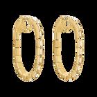 Fluid Hoop Pierced Earrings, Brown, Gold-tone plated