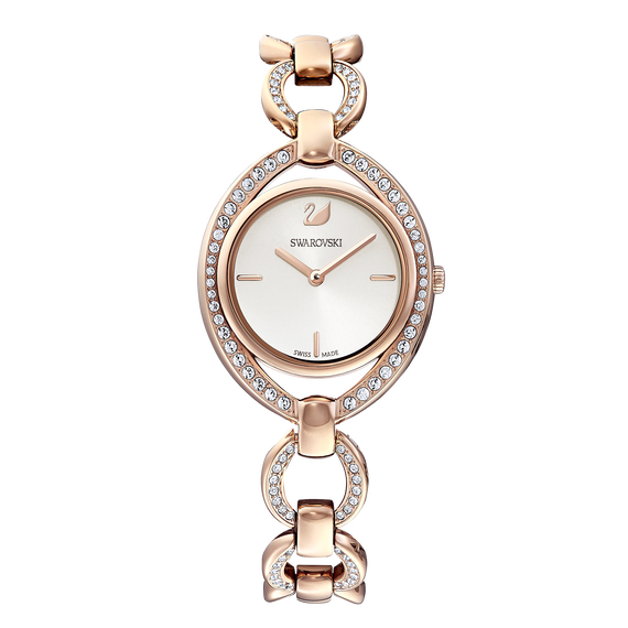 Stella Watch, Metal bracelet, White, Rose-gold tone PVD
