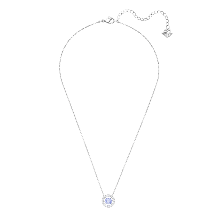 Sparkling Dance Round Necklace, Blue, Rhodium Plated