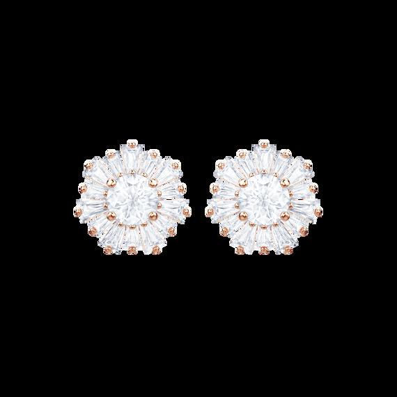 Sunshine Pierced Earrings, White, Rose gold plating