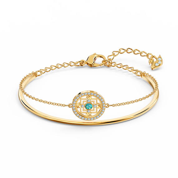 Swarovski Symbolic Mandala Bangle, Green, Gold-tone plated