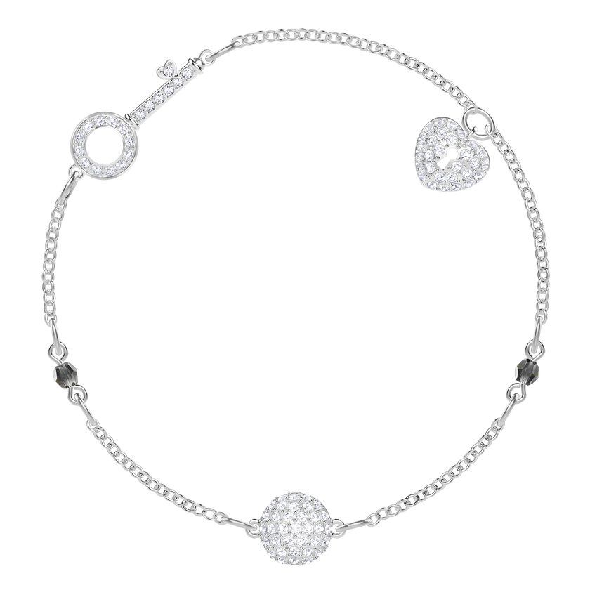 Swarovski Remix Collection Lock Strand, White, Rhodium plated