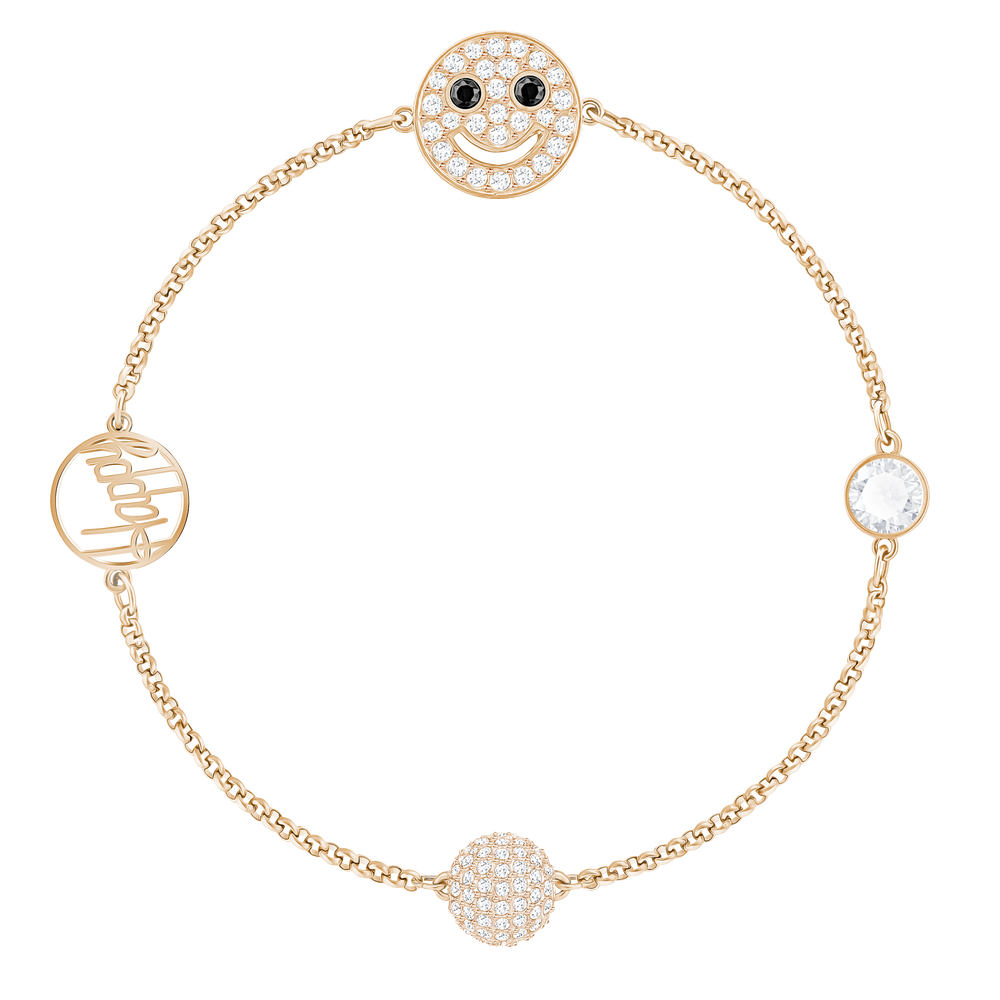 Swarovski Remix Collection Smiling Face Strand, White, Rose-gold tone plated