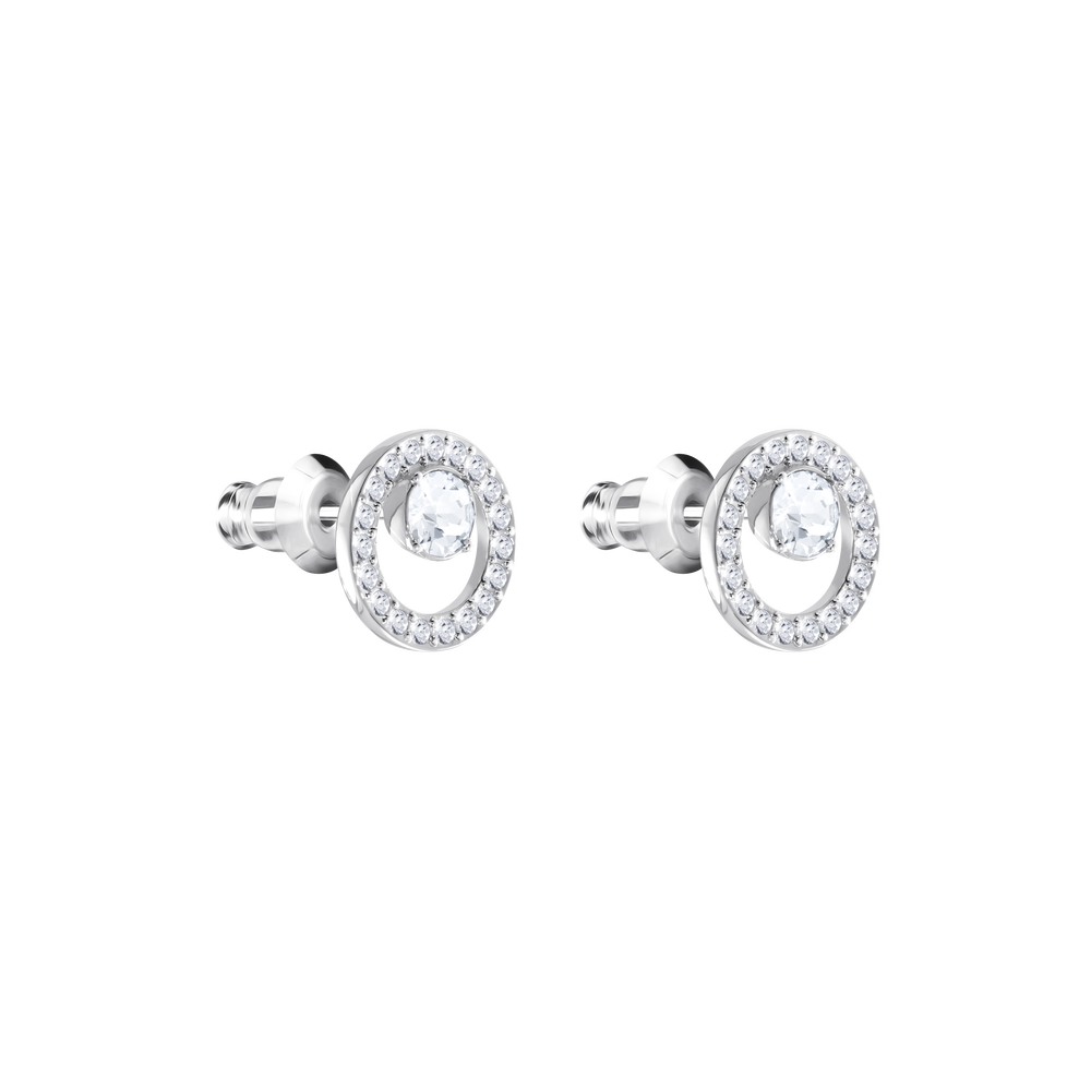 Creativity Circle Pierced Earrings, Small, White, Rhodium Plated