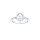 Attract Light Round Ring, White, Rhodium Plating