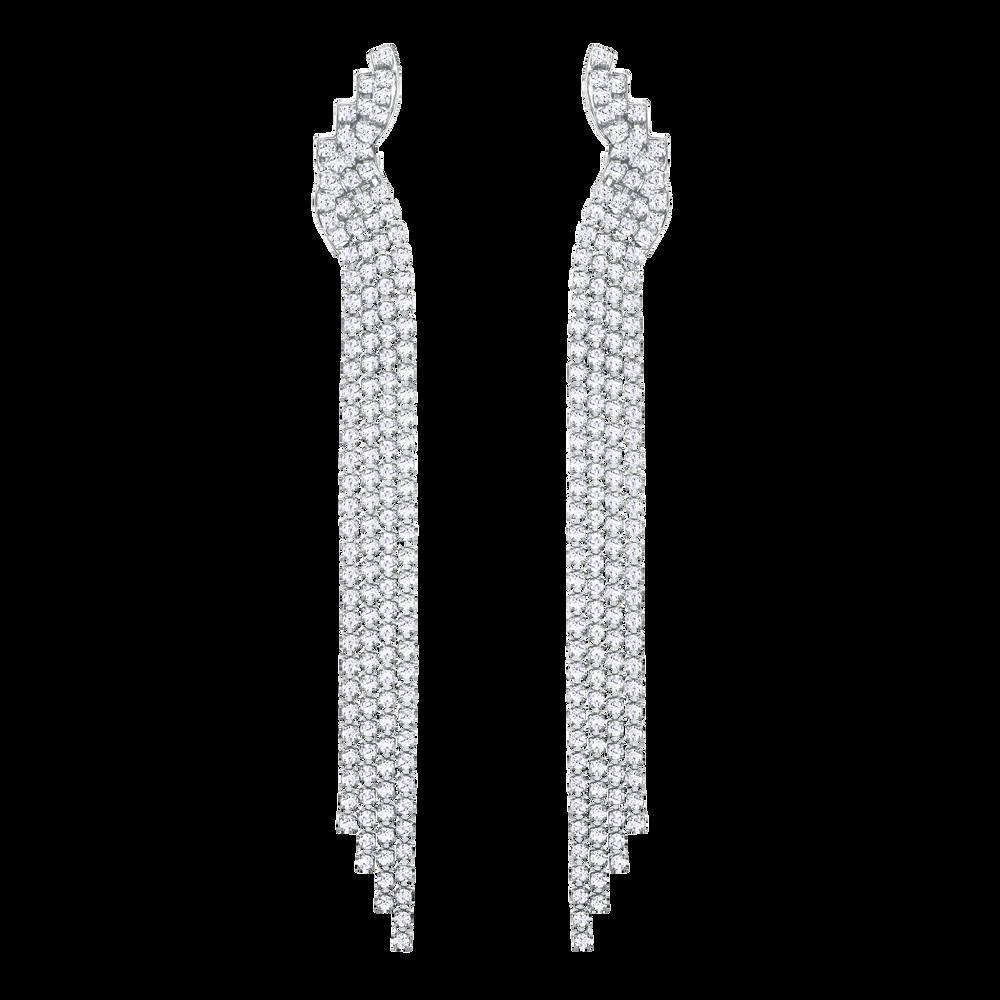 Fit Clip Earrings, White, Ruthenium Plating