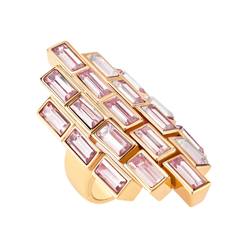 Fluid Cocktail Ring, Violet, Rose-gold tone plated