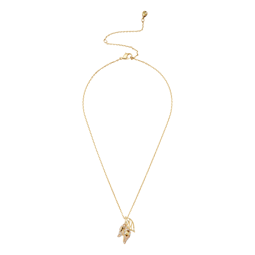 Graceful Bloom Pendant, Brown, Gold-tone plated