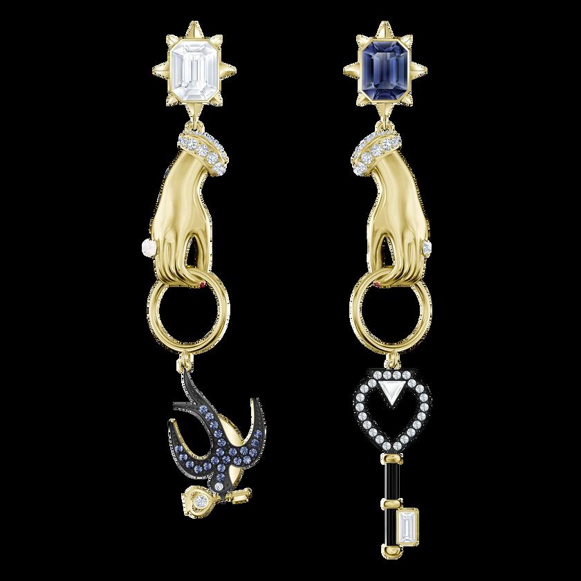 Tarot Magic Pierced Earrings, Multi-colored, Gold-tone plated