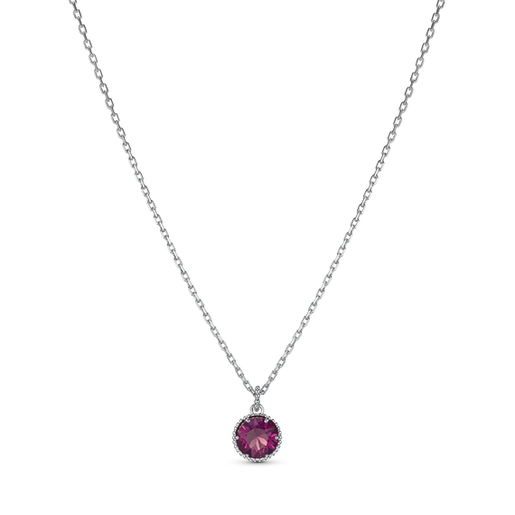 Birthstone Pendant, February, Purple, Rhodium plated