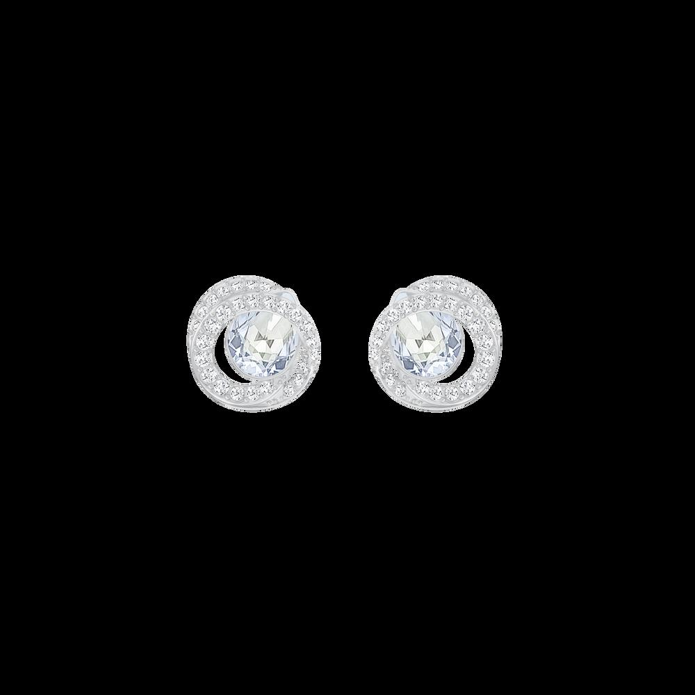 Generation Pierced Earrings, Blue, Rhodium Plating