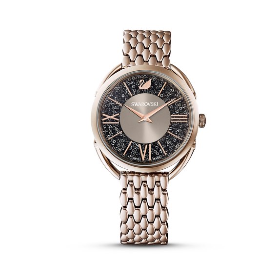 Crystalline Glam Watch, Metal Bracelet, White, Champagne gold tone
