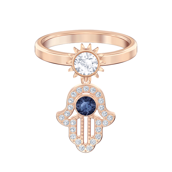 Swarovski Symbolic Motif Ring, Blue, Rose-gold tone plated