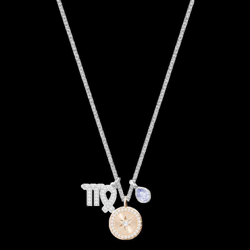 Zodiac Pendant, Virgo, Violet, Rhodium Plating