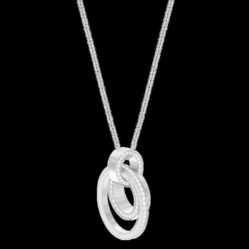 Hollow Pendant, Medium, White, Rhodium Plated