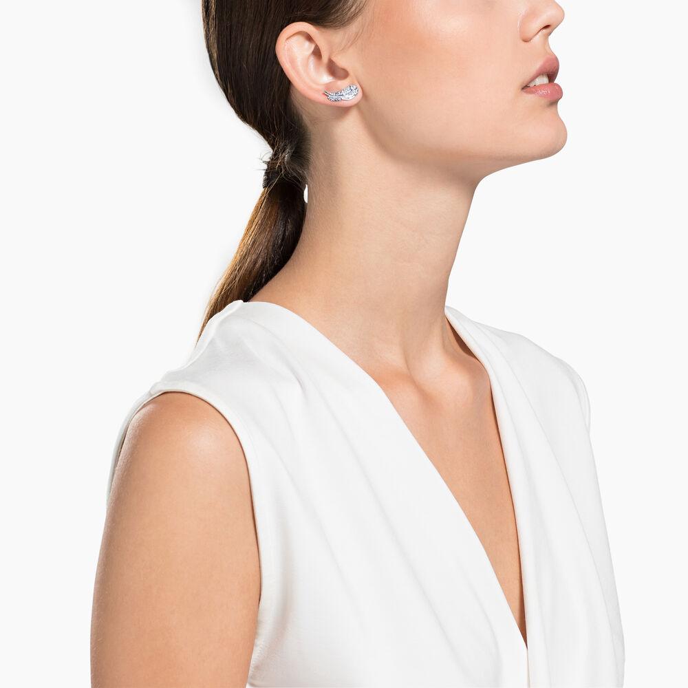 Nice Stud Pierced Earrings, White, Rhodium plated