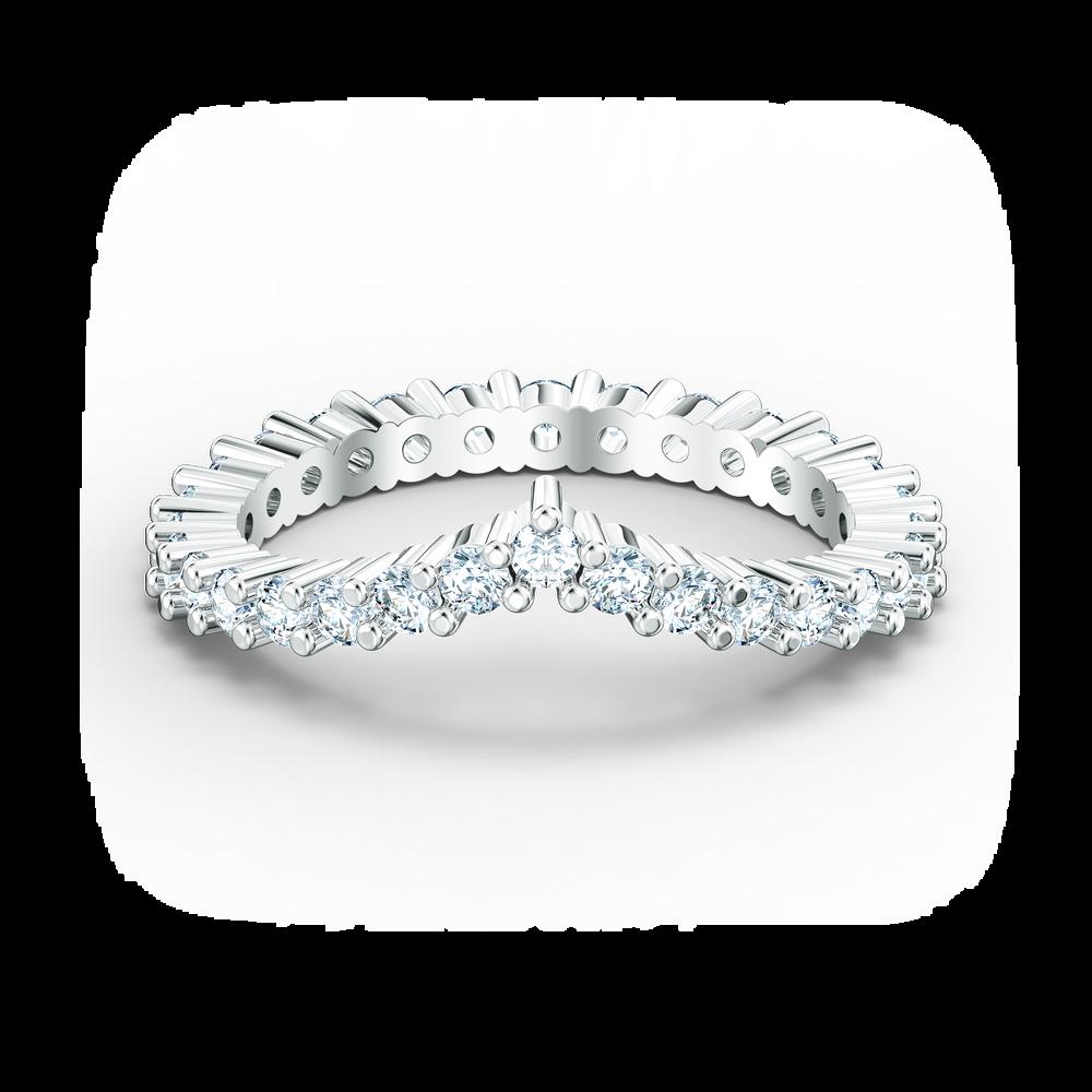 Vittore V Ring, White, Rhodium plated
