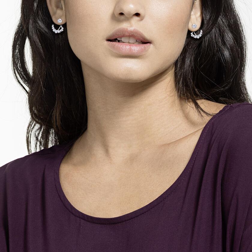 Moonsun Pierced Earrings, White, Rhodium plated