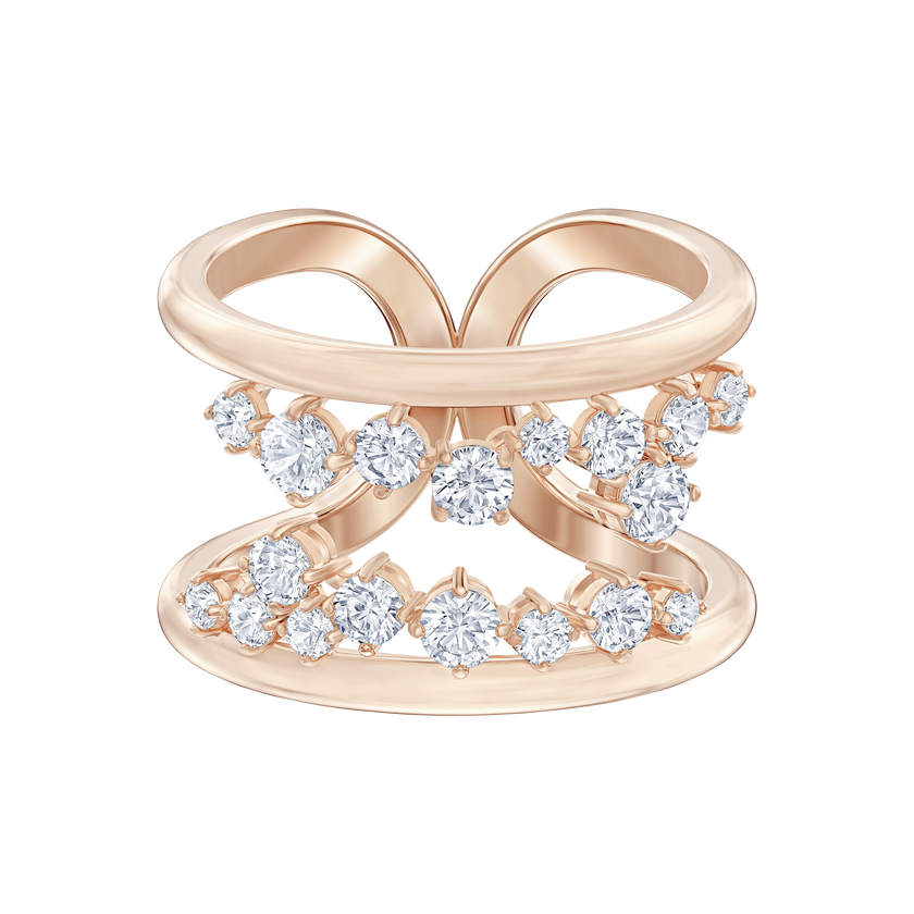 North Motif Ring, White, Rose-gold tone plated