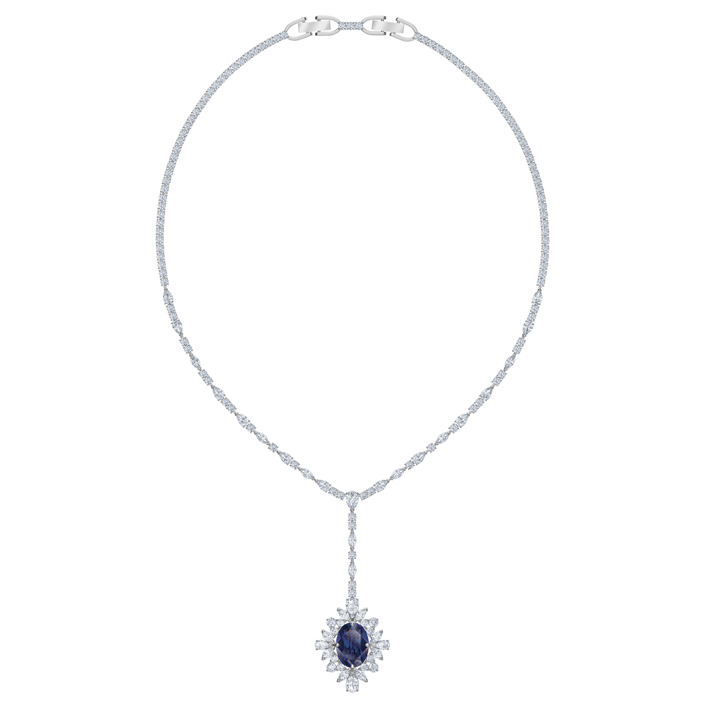 Palace Y Necklace, Blue, Rhodium plated