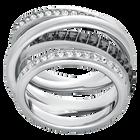 Dynamic Ring, Grey, Rhodium Plated