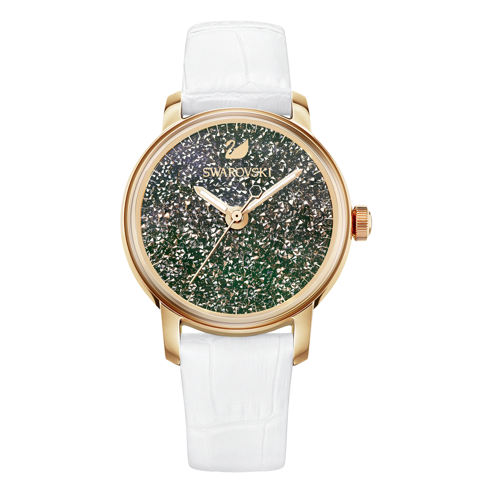 Crystalline Hours Watch, White, Rose Gold Tone