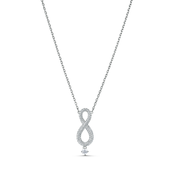 Swarovski Infinity Necklace, White, Rhodium plating