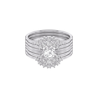 Moonsun Ring Set, White, Rhodium plated
