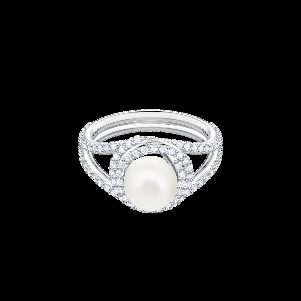 Originally Cocktail Ring, White, Rhodium plating