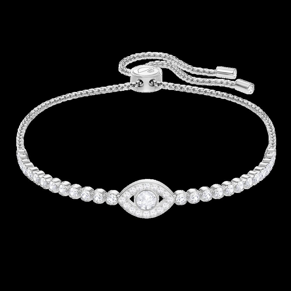Subtle Evil Eye Bracelet, White, Rhodium Plating
