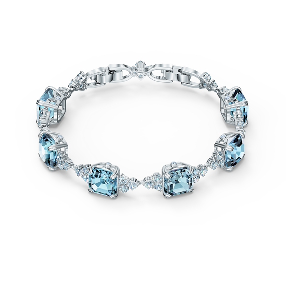 Sparkling Bracelet, Aqua, Rhodium plated