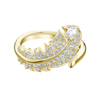 Nice Motif Ring, White, Gold-tone plated