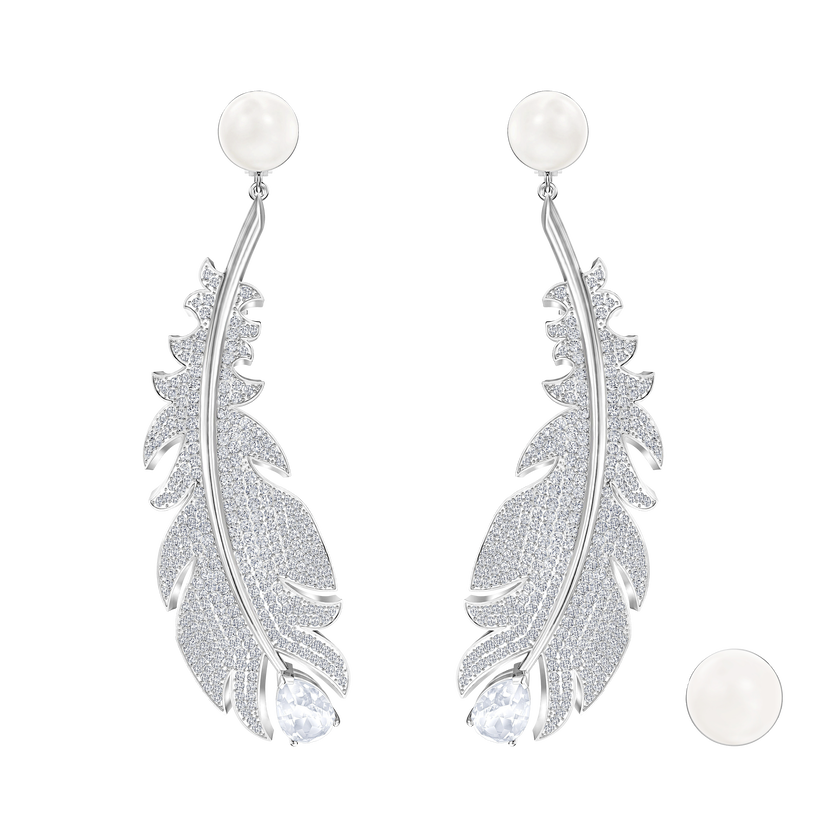Nice Clip Earrings, White, Rhodium plated