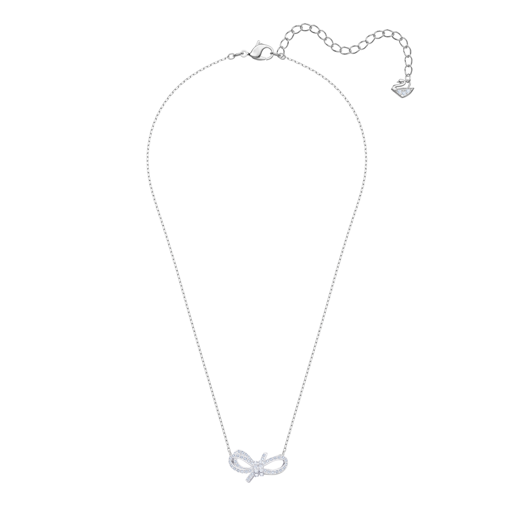 Lifelong Bow Necklace, White, Rhodium plating