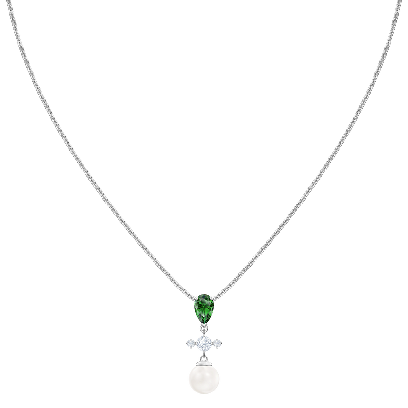 Perfection Necklace, Green, Rhodium plated