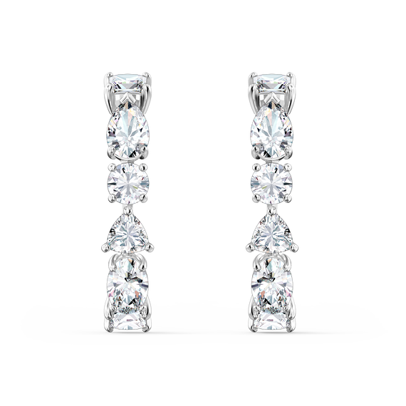Tennis Deluxe Mixed Pierced Earrings, White, Rhodium plated
